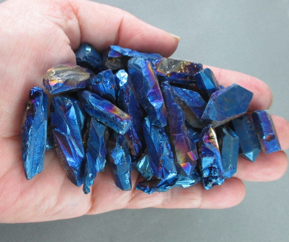 3 peacock blue quartz crystal points raw crystals master