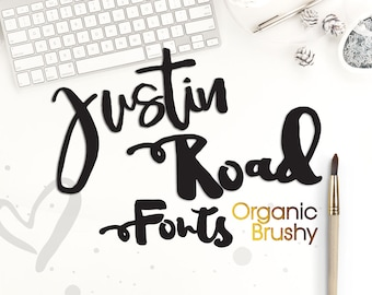 Justin Road Font Brush Fonts Watercolor Lettering Digital Download