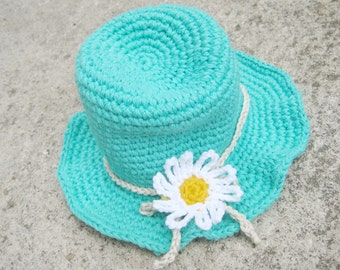Summer baby hat crochet pattern - Turquoise hat pattern in 4 sizes - Baby crochet hat PDF pattern