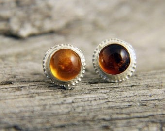 Silver Amber Earrings, Sterling Silver Baltic Amber Stud Earrings