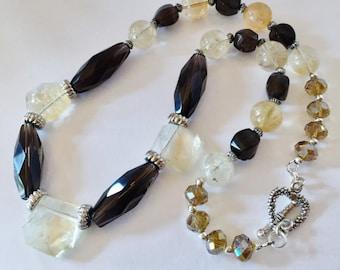 Smokey Quartz Necklace Citrine Jewelry Gift For Her Crystal Necklace Smokey Quartz Jewelry Citrine Necklace Lemon Necklace Beaded Jewelry