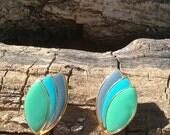 Aqua, Blue and Gold Enamel Earrings/Aqua Blue Pierced Earrings/Vintage Aqua Earrings/Aqua Earrings