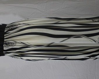 Summer Dress, Elegant Evening Dresd, Flowers Print Black and White Maxi Dress