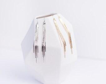 NEW loops of ear Serpentine, long earrings, glossy finish