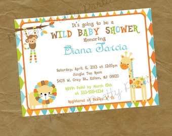 JUNGLE SAFARI Baby Shower Party Invitation Invite - Lion Giraffe Monkey - Digital or Printed