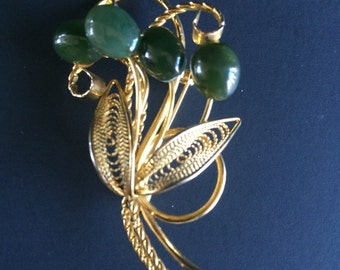 Vintage Art Nouveau Jade Cabochons and Gold Tone Filligree Flower Bouquet Brooch 1960s