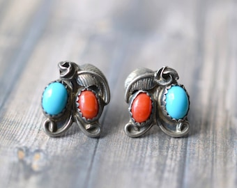 Stelring Silver Native American Navajo Stud Earrings with Faux Turquoise and Coral