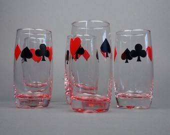 Set of 5 Glasses Card Glass Set Retro Black Red Drinking Glass Mid Century Barware Tumbler Drinkware