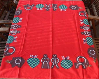 Fantastic Christmas vintage retro Tablecloth with gingerbreads and hearts. Made in Sweden Scandinavian.