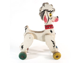 ON SALE French Wood Pull Dog Toy, White Poodle on Wheels