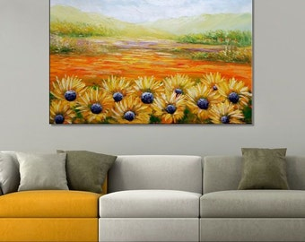 Landscape Painting, Abstract Painting, Canvas Art, Abstract Art, Large Art, Sunflower Painting, Landscape Art, Wall Art, Original Painting