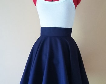 Navy circle skirt, Mini skater skirt, Midi full skirt, high waisted, summer clothes, dark Blue , lolita Gothic, knee length, pin up clothing