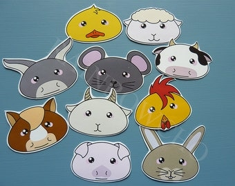 """10 """"farm animals"""" stickers: cow, donkey, rabbit, chicken, Rooster, horse, mouse, pig, sheep and goat"""