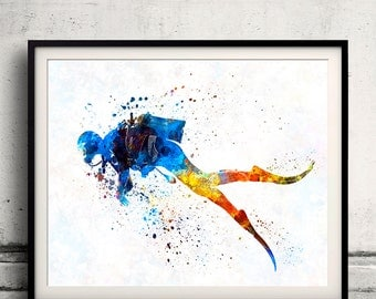 Man scuba diver 01 - Fine Art Print Glicee Poster Home Watercolor sports Gift Room Children's Illustration Wall - SKU 2285