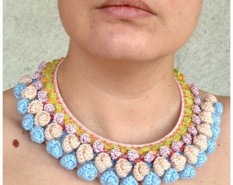 SUPER SALE, folk mexican necklace, chunky pom pom necklace, unique ethnic necklace,  blue pink necklace, shabby chic necklace