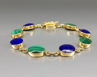 Classic beautiful bracelet combining Lapis Lazuli and Malachite in 18K gold - gift idea - blue and green with solid gold - AAA Grade stone