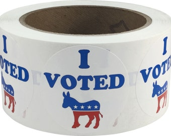 """I Voted Democrat Stickers - 500 Voting Booth Labels - 2"""" Inches Round"""
