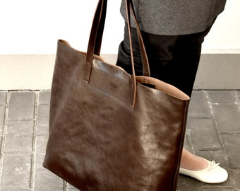 Brown Leather Tote - LENA Large Handmade Chocolate Brown Leather Tote Bag