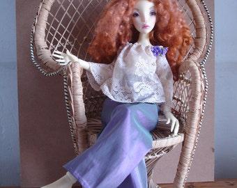 Outfit satin pants moiré purple and cream lace blouse, fordolls BJD MSD