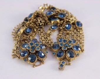 Antique Sapphire Bracelet Midnight Blue Sapphire 5 Link Bracelet Vintage Costume Jewelry Bridal Something Old OOAK Gold Bronze Bracelet Gift