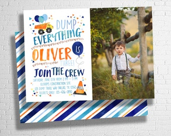 Construction Birthday Invitation, first,second,birthday invite, birthday party, construction birthday, dump truck party invitation