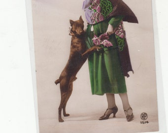 Antique Postcard 1928 France Doberman Pinscher And Stylish  Woman,Real Photograph RPPC