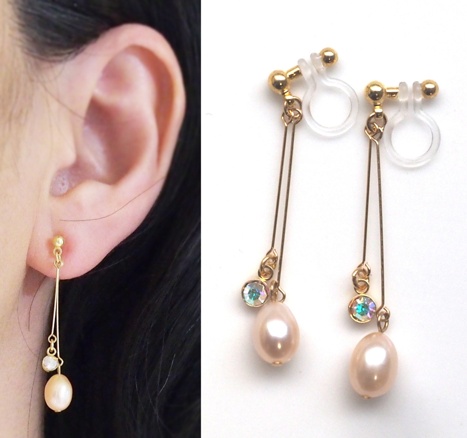 bridal freshwater pearl invisible clip on earrings dangle. Black Bedroom Furniture Sets. Home Design Ideas