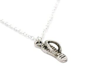 Flip Flop Necklace, Flip Flop Pendant, Flip Flop Charm, Antique Silver Flip Flop, Silver Flipflop Necklace, Beach Shoe Charm, Sandal Charm
