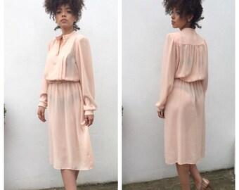 VINTAGE Peach Summer Dress   80s Dress   Pretty Day Dress   Summer Fashion   Monica Richards Vintage Dress
