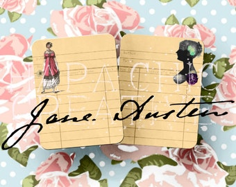 Jane AUSTEN LIBRARY Journal Cards - 8 Regency Era Printable Digital Cards - Pride and Prejudice - Sense and Sensibility Digital Art