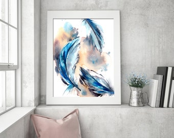 Feathers Watercolor Print, Watercolor Painting, Blue Feathers, Modern Wall Art