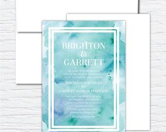Brighton, Blue and Green, Watercolor, Customizable Wedding Invitation Set