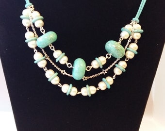 Pearl, Magnesite and Sterling Silver Statement Necklace