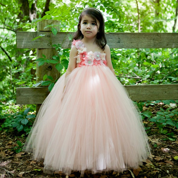 Flower Girl Dress Peach Coral Flower Girl Coral Tutu Dress