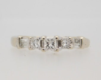 0.50 Carat T.W. Ladies Princess & Baguette Cut Diamond Ring 14K White Gold