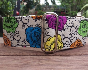 """Martingale Collar - Whippet, Greyhound, small to medium dog - 1.5"""" and 2"""" - Wild Roses on Cream"""