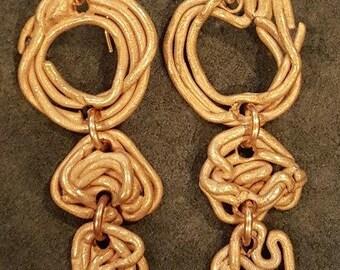Bronze Three-Tier Earrings