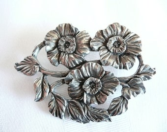 Vintage Seagull Pewter Brooch Flower Floral Pewter Brooch Made in Canada