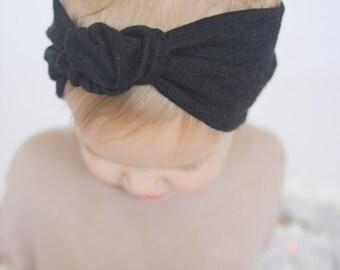 Baby (Child) Knotted Headband, Knit headband, Black Headband