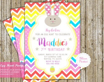 Easter Party Invitation Egg Hunt Birthday Party Easter Bunny Invite Digital Printable