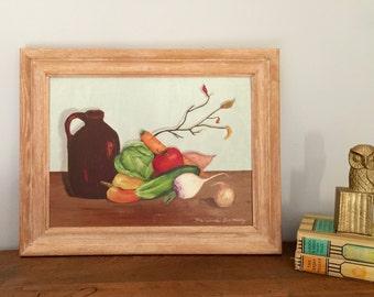 Still Life Oil Painting- Original Signed Framed - Vegetables Fruit Harvest - Rustic