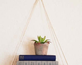 ON SALE Hanging Shelf, Rustic Wood Shelf, Plant Hanger, Handcrafted Shelf, Easy To Hang, Choose Shelf Size, Hangs With Twine, Versatile