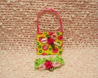 11.5 Fashion Doll Accessories - Yellow Floral print Purse with Lime Green Hairband