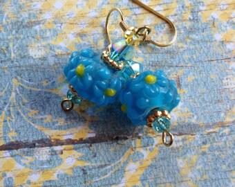 Blue Lampwork Flower Earrings, Flower Earrings, Lampwork Earrings, Blue Earrings, For Her, Gift Ideas