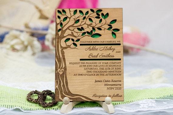 personalized tree wedding invitation 10 real wood wedding, Wedding invitations