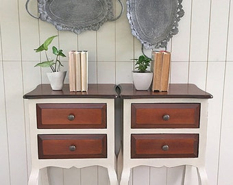 SOLD -- Queen Anne Style Bedside Tables in Old Ochre