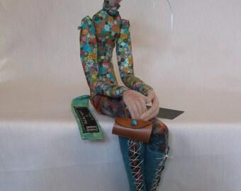 needle felted wet felted figure 'Iconic 60's'