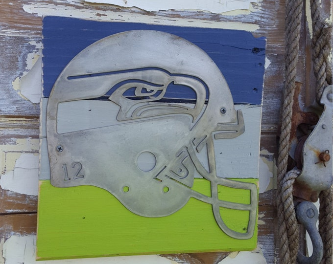 Football Signs, Seahawk Sign, Sport team signs, Football logo signs, Metal football signs, Football Helmet Sign, Metal sign