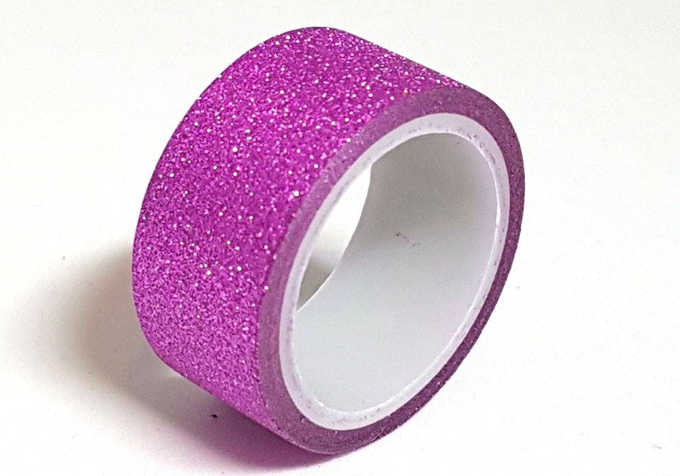 cerise pink glitterwashi tape 3 metre roll craft adhesive paper masking tape sparkly decoration. Black Bedroom Furniture Sets. Home Design Ideas