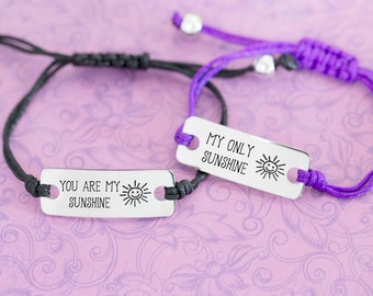 Set of 2 - You Are My Sunshine Bracelet - Engraved Personalized Bar Bracelet - Couple's Gifts - Anniversary - Custom Engraving